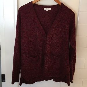 Madewell deep red/burgundy marled cardigan